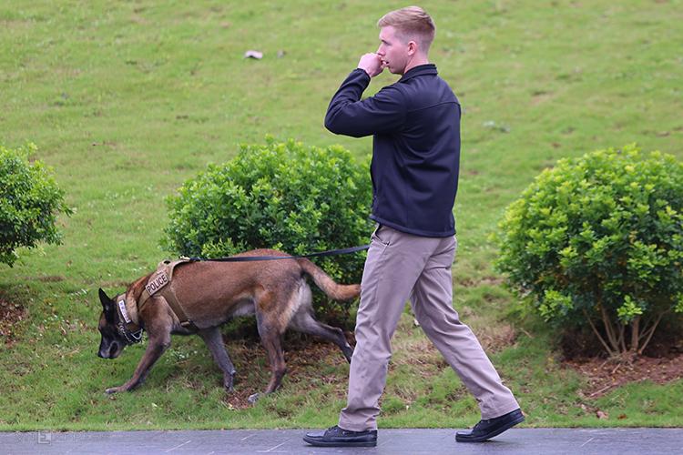 Mật vụ dẫn chó nghiệp vụ tuần tra quanh khách sạn Marriott. Ảnh: Phạm Dự.