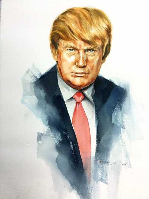 Bức tranh Tổng thống Trump của hoạ sĩ Hoàng Phong. Ảnh: NVCC