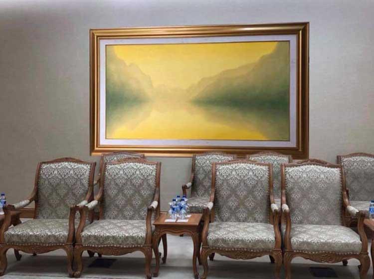Bức tranh Quê hương thanh bình của hoạ sĩ Hồng Việt Dũng. Ảnh: NVCC