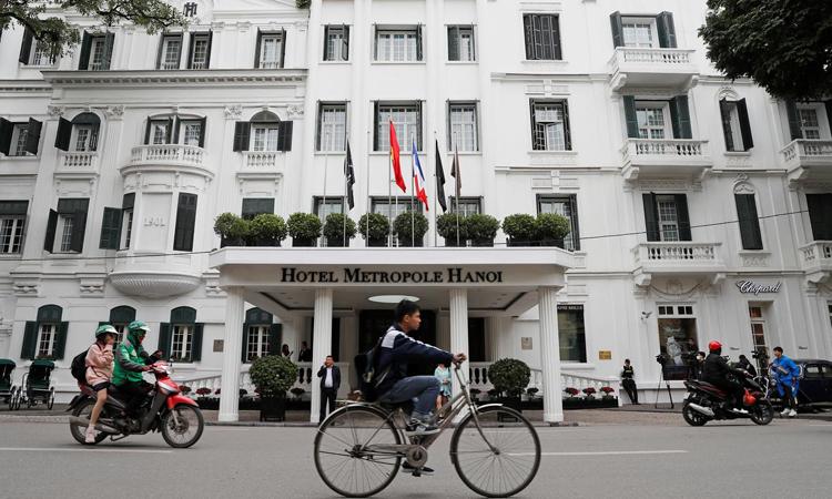 Khách sạnMetropole là nơi Tổng thống Mỹ Donald Trump và Chủ tịch Triều Tiên Kim Jong-un dùng bữa tối ngày 27/2. Ảnh: Reuters.