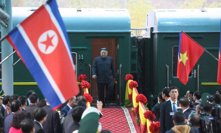 Chủ tịch Kim Jong-un đến ga Đồng Đăng, tỉnh Lạng Sơn sáng 26/2. Ảnh: Giang Huy.