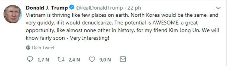 Bài đăng Twitter hôm nay của Tổng thống Mỹ Donald Trump. Ảnh: Twitter.