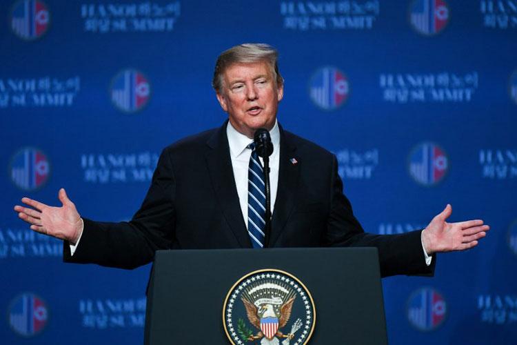 Trump phát biểu tại cuộc họp báo sau hội nghị thượng đỉnh. Ảnh: AFP.