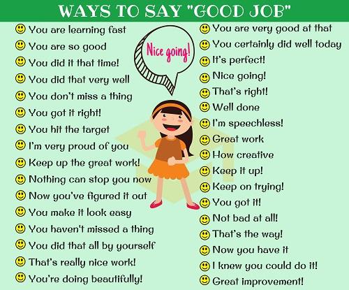Những cách nói thay thế Good job