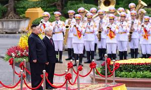 Tổng Bí thư, Chủ tịch nước đón Chủ tịch Triều Tiên