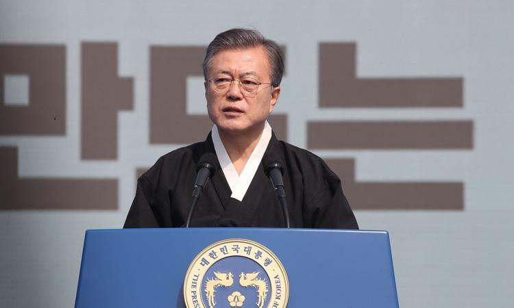 Tổng thống Hàn Quốc Moon Jae-in phát biểu vào ngày 1/3 tại thủ đô Seoul, Hàn Quốc. Ảnh: Yonhap.