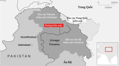 Khu vực các bên kiểm soát tại Kashmir. Đồ họa: CNN.
