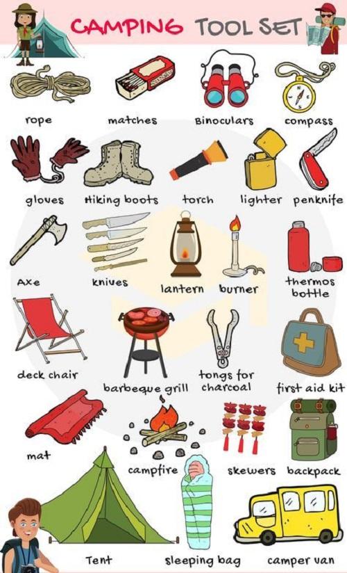 Từ vựng tiếng Anh về đồ dùng cần trong buổi cắm trại