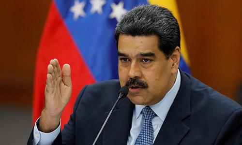 Tổng thống Maduro trong một cuộc họp báo ở Caracas hôm 9/1. Ảnh: Reuters.