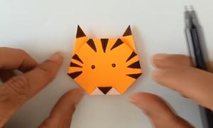 Cách gấp mặt chú hổ bằng giấy