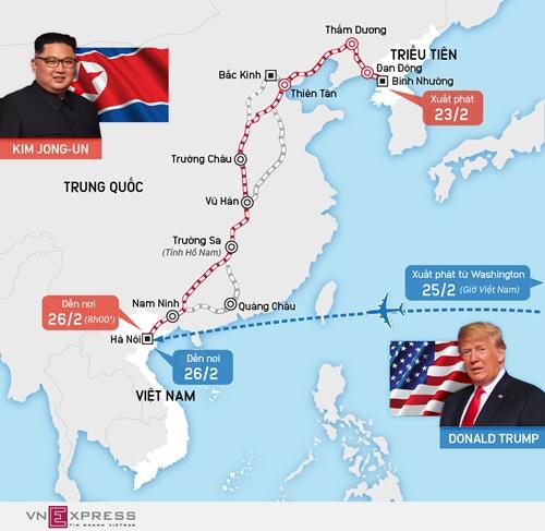 Hành trình đi tàu từ Triều Tiên đến Việt Nam của ông Kim Jong-un ngày 23-26/2. Đồ họa: Tạ Lư. (Ấn vào hình để xem cỡ lớn