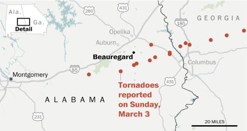 Những khu vực xảy ra lốc xoáy tại bang Alabama và Georgia hôm 3/3. Ảnh: Washington Post.