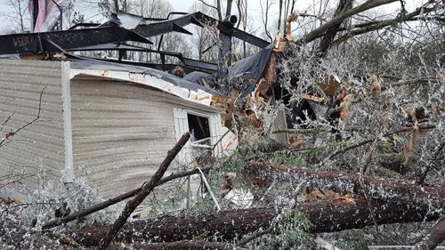 Nhà cửa bị phá hủy, cây cối gãy đổ sau lốc xoáy ở bang Alabama. Ảnh: Facebook.