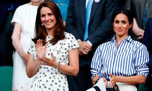 Công nương Kate (trái) và Meghan, hai con dâu của Hoàng gia Anh. Ảnh: CNN.