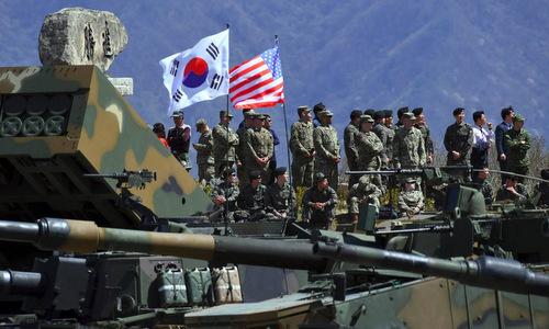 Binh sĩ Mỹ - Hàn trong một cuộc tập trận chung năm 2017. Ảnh: Reuters.