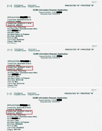 Ba hồ sơ được xử lý bởi cùng một người. Ảnh: SCMP.