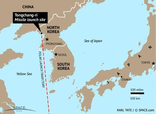 Vị trí bãi phóng tên lửa Tongchang-ri (chấm tròn màu đen). Ảnh: SPACE.com.