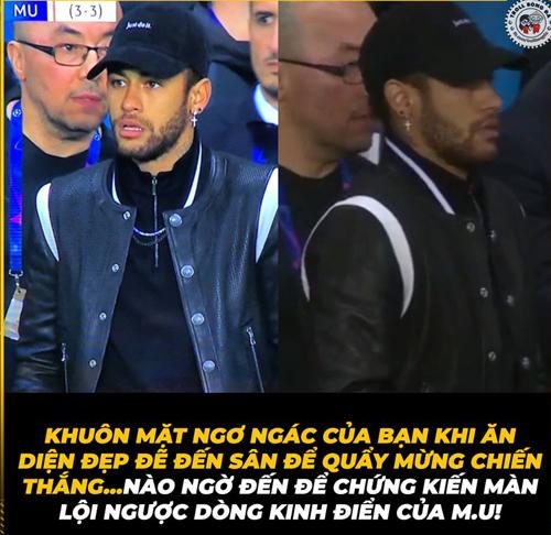 Khuôn mặt ngơ ngác của Neymar khi chứng kiến màn lội ngược dòng không tưởng của MU.