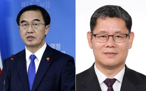 Kim Yeon-chul (phải) sẽ thay thế Cho Myoung-gyon (trái) trong vai trò Bộ trưởng Thống nhất Hàn Quốc. Ảnh: Yonhap.