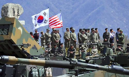 Lính Mỹ và Hàn Quốc trong một cuộc tập trận chung. Ảnh: AP.