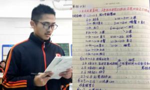 Lịch học 17 tiếng mỗi ngày của nam sinh Trung Quốc