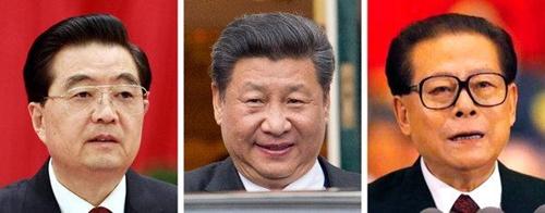 Từ trái sang:cựu chủ tịch Trung Quốc Hồ Cẩm Đào năm 2010, ông Tập Cận Bình năm 2016 và cựu chủ tịch Trung Quốc Giang Trạch Dân năm 2001. Ảnh: AP/Reuters.