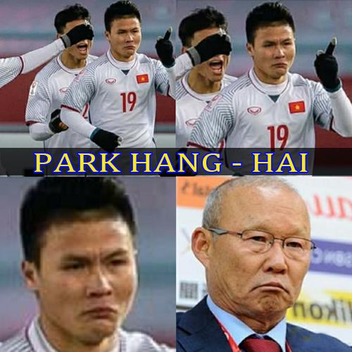 Biểu cảm hài hước của Quang Hải.