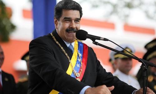 Tổng thống Venezuela Nicolas Maduro phát biểu tại một sự kiện hồi tháng hai ở Ciudad Bolivar. Ảnh: Reuters.
