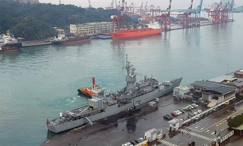 Chiến hạm Ninh Dương (dưới) và NCC Sama (da cam) sau vụ va chạm. Ảnh: CNA.