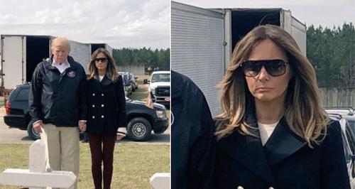 Bức ảnh làm dấy lên nghi vấn bà Melania dùng người thế thân trong chuyến thăm Alabama hôm 8/3. Ảnh: People