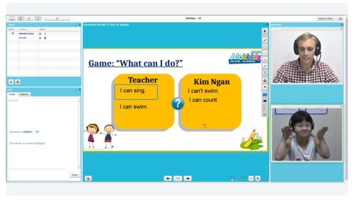 Giao diện lớp học trực tuyến với giáo viên nước ngoài.
