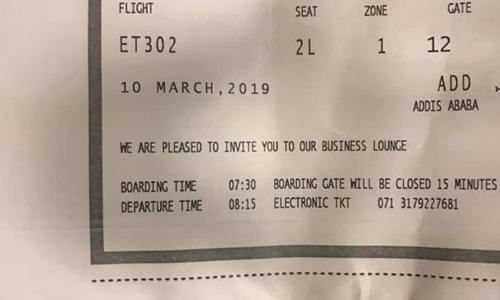 Chiếc vé máy bay của Mavropoulos. Ảnh: Facebook.