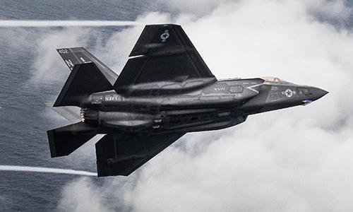 Tiêm kích F-35C Lightning II thuộc phi đoàn tiêm kích tấn công số 147 bay qua khu vực căn cứ không quân Eglin, bang Florida, Mỹ ngày 1/2/2019. Ảnh: US Navy.