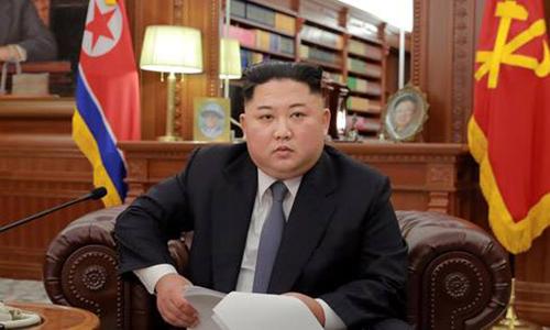 Lãnh đạo Triều Tiên Kim Jong-un trong bài phát biểu năm mới hôm 1/1. Ảnh: KCNA.