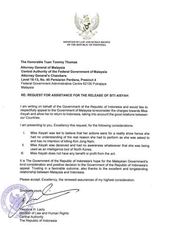 Lá thư Bộ trưởng Luật và Nhân quyền Indonesia Yasonna Laoly gửi cho Bộ trưởng Tư pháp Malaysia Tommy Thomas. Ảnh: Twitter.