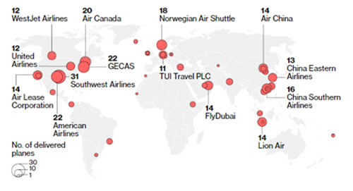 Số máy bay 737 Max Boeing của các hãng hàng khôngtrên toàn cầu. Đồ hoạ: Boeing