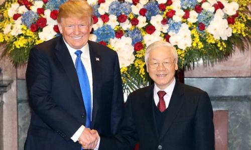 Tổng bí thư, Chủ tịch nước Việt Nam Nguyễn Phú Trọng đón Tổng thống Mỹ Trump tại Hà Nội hôm 27/2. Ảnh: Ngọc Thành.