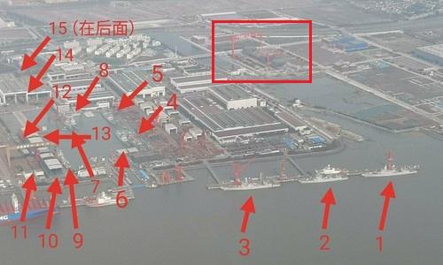 15 tàu khu trục và tàu sân bay Type-003 (khoanh đỏ) tại nhà máy Giang Nam hôm 11/3. Ảnh: Weibo.
