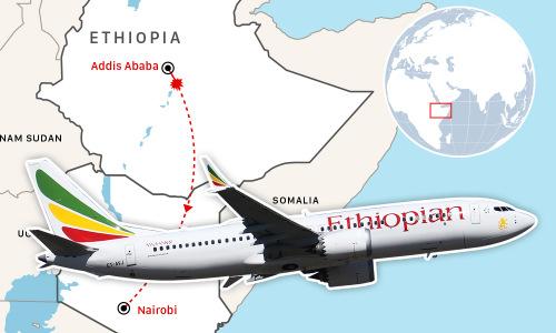 6 phút trên không của máy bay rơi ở Ethiopia. Đồ họa: Việt Chung.(Bấm vào ảnh đề xem đầy đủ).