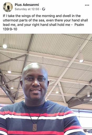 Dòng trạng thái được đăng tải trên Facebook của Adesanmi trước khi tai nạn xảy ra. Ảnh: Daily Post