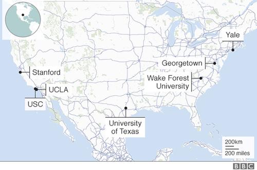 Mạng lưới các trường đại học Mỹ có liên quan tới vụ gian lận hồ sơ tuyển sinh. Ảnh: BBC.