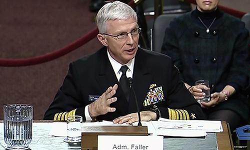 Đô đốc Craig Faller, tư lệnh Bộ Chỉ huy phía Nam của quân đội Mỹ trong phiên điều trần trước quốc hội vào tháng 2. Ảnh: US Southern Command.