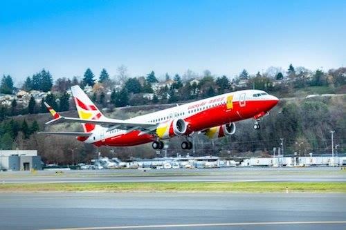 Một máy bay của hãngLucky Air. Ảnh: Weibo