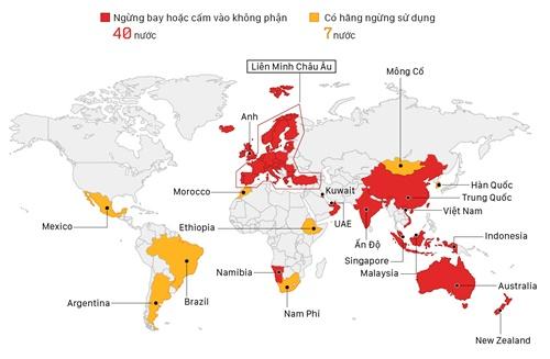 Những nơi cấm máy bay Boeing 737 MAX 8 hoạt động. Đồ họa: Việt Chung, Vũ Anh. (Bấm vào hình để xem chi tiết)