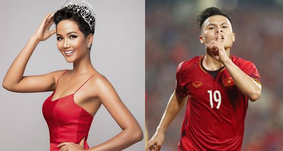 Hoa hậu HHen Niê và cầu thủ Quang Hải.