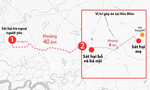 Nam di chuyển hơn 40 km để sát hại 4 người. Ảnh:Lê Huyền.