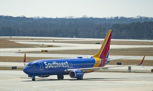 Máy bay Boeing 737 MAX 8 của Southwest Airlines tại Maryland ngày 13/3. Ảnh: AFP.