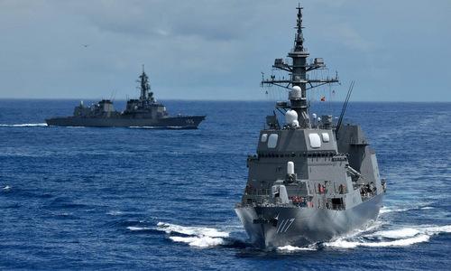 Tàu khu trục Nhật Bản hoạt động trên Biển Hoa Đông. Ảnh: JMSDF.