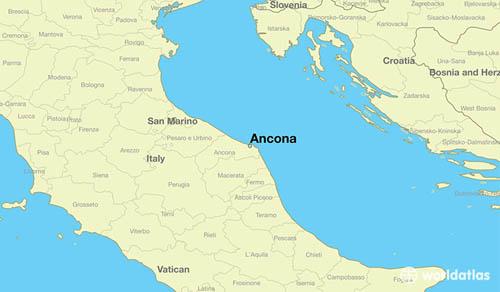 Vị trí thành phố Ancona trên bờ biển Adriatic của Italy. Ảnh: WorldAtlas.