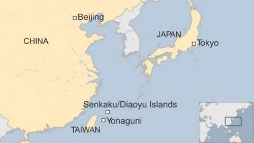 Vị trí chuỗi đảo tranh chấp Senkaku/Điếu NGư trên bản đồ. Đồ họa: BBC.